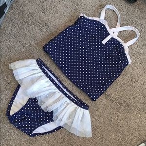 Girls Two Piece Navy/White Polka Dot SwimSuit